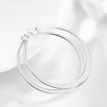 Fashion Sterling 925 Silver Plated Jewelry Big Circle Hoop Earrings - $8.81