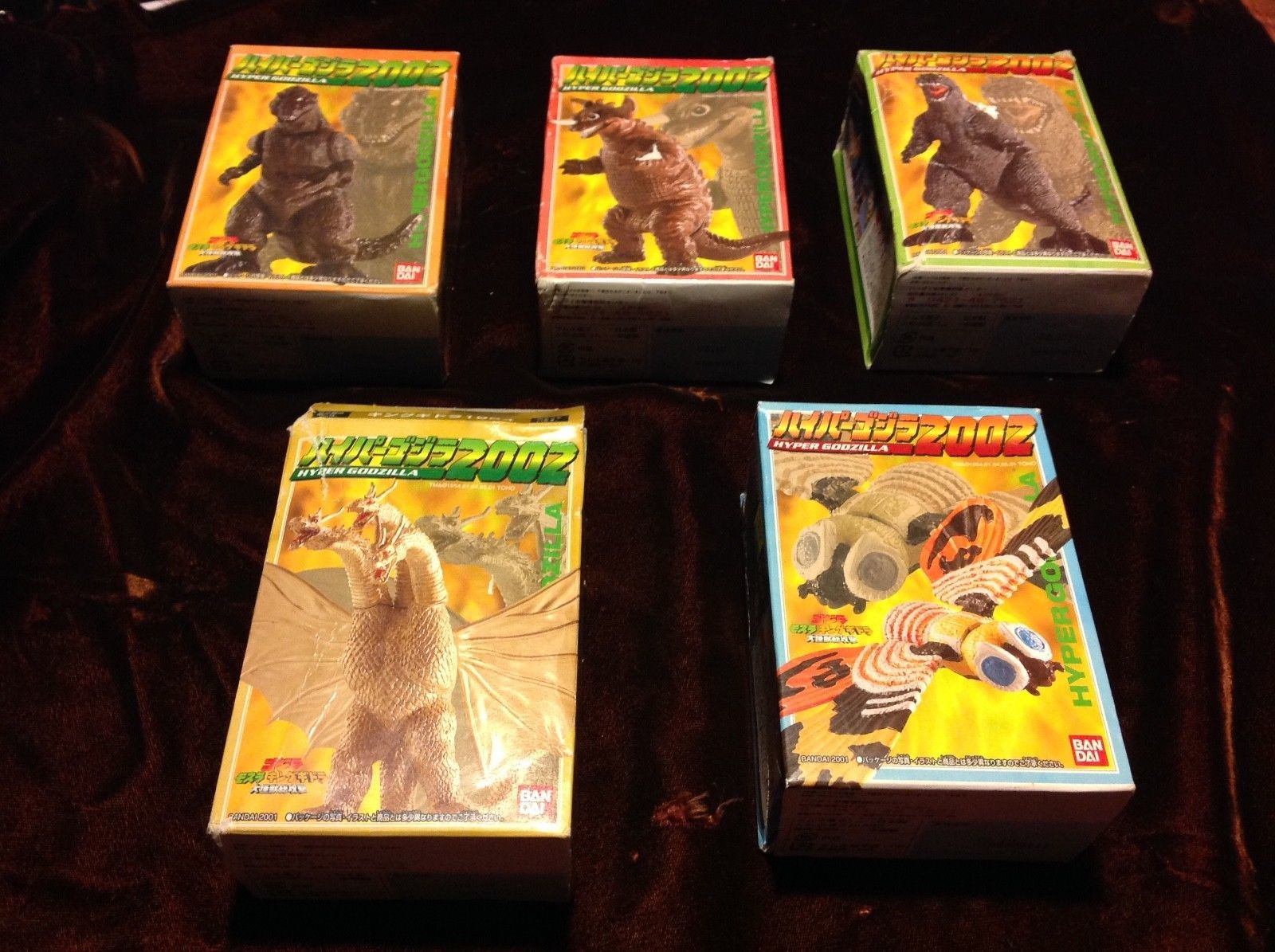 Bandai 2002 Hyper Godzilla complete Set Of 5 Pieces boxed