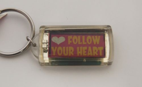 Ganz Solar Powered Flashing Follow Your Heart Key Chain Multi Colored Waves