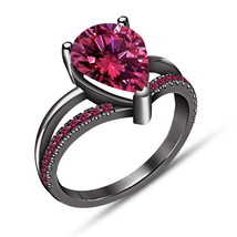 Pear Shape Pink Sapphire Bridal Ring Engagement Wedding Ring 14K Black G... - $84.99