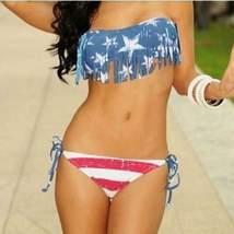 Sexy Vintage American Flag Tassel Bikini Set - $26.00