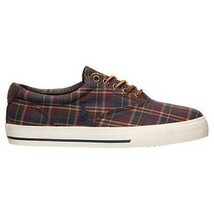 Ralph Lauren VAUGHN Twill Plaid Casual Sneakers Shoes 2 Laces 1-Leather NWOT - $81.41 CAD