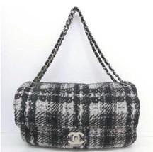 Auth CHANEL Shoulder Bag Black White Matelasse Classic Flap Medium Logo B2306 - $2,000.79