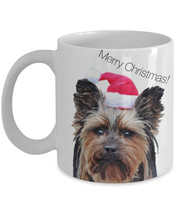 Merry Christmas Mugs - Holiday Mug With Terrier Dog in a Santa Hat - $14.95