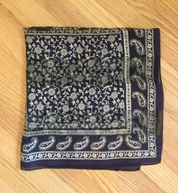 Vintage Adrienne Vittadini square silk scarf (Navy floral and paisley) image 2