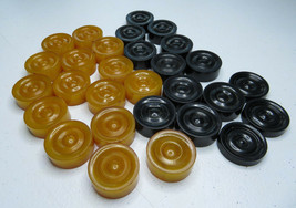 Vintage 15 Yellow & 11 Black Bakelite Backgammon Checkers Cattalin + 3  - $160.00