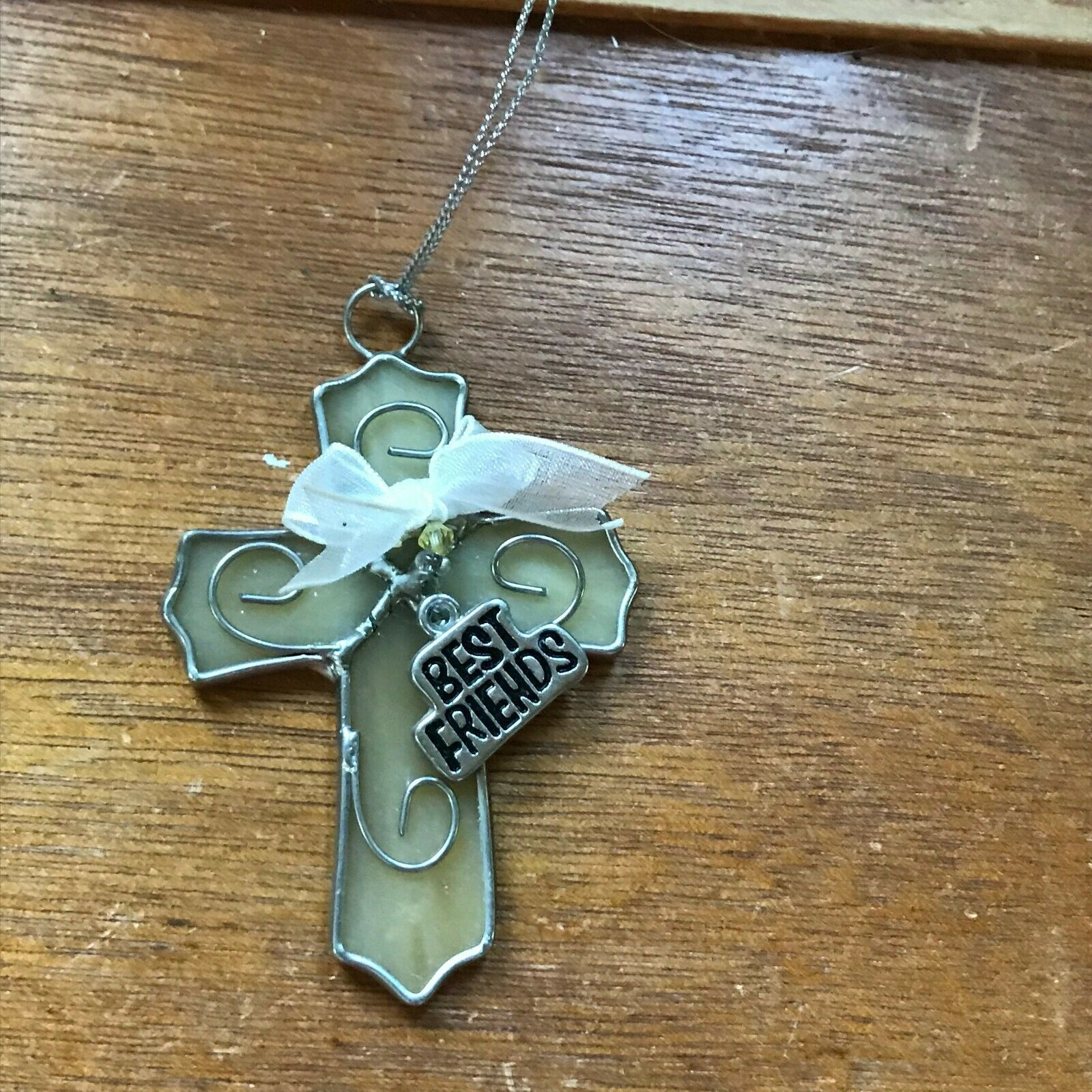 Estate Cream Glass & SIlvertone CROSS with Best Friends Charm Christmas Tree Orn