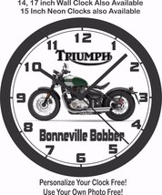 2017 TRIUMPH BONNEVILLE BOBBER WALL CLOCK, INDIAN, HARLEY DAVIDSON, BMW - £22.24 GBP+