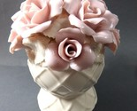 VTG Pink Rose Flowers Hand made Figural Hat pin Holder Decorative Vanity