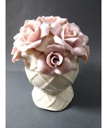 VTG Pink Rose Flowers Hand made Figural Hat pin Holder Decorative Vanity - $84.15