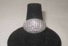Sterling Silver Ring CZ Round Cut Pave Set Wedding Band Dome Bridal 925 New - $198.00