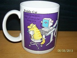 Coffee Mug COMPUTER Office Tech FRAIDY CAT kitty 1984 hallmark - $14.85