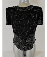 PAPELL WOMENS  Large  BOUTIQUE EVENING S/S BLACK BEADED SILK TOP BLOUSE (O) - $59.88