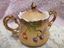 Lefton Heritage Brown Fruit Sugar Bowl with Lid with Sticker - $8.00