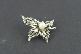 Vintage Jewelry Signed Tacoa Leaf Floral Silver Tone Pearl - $11.72