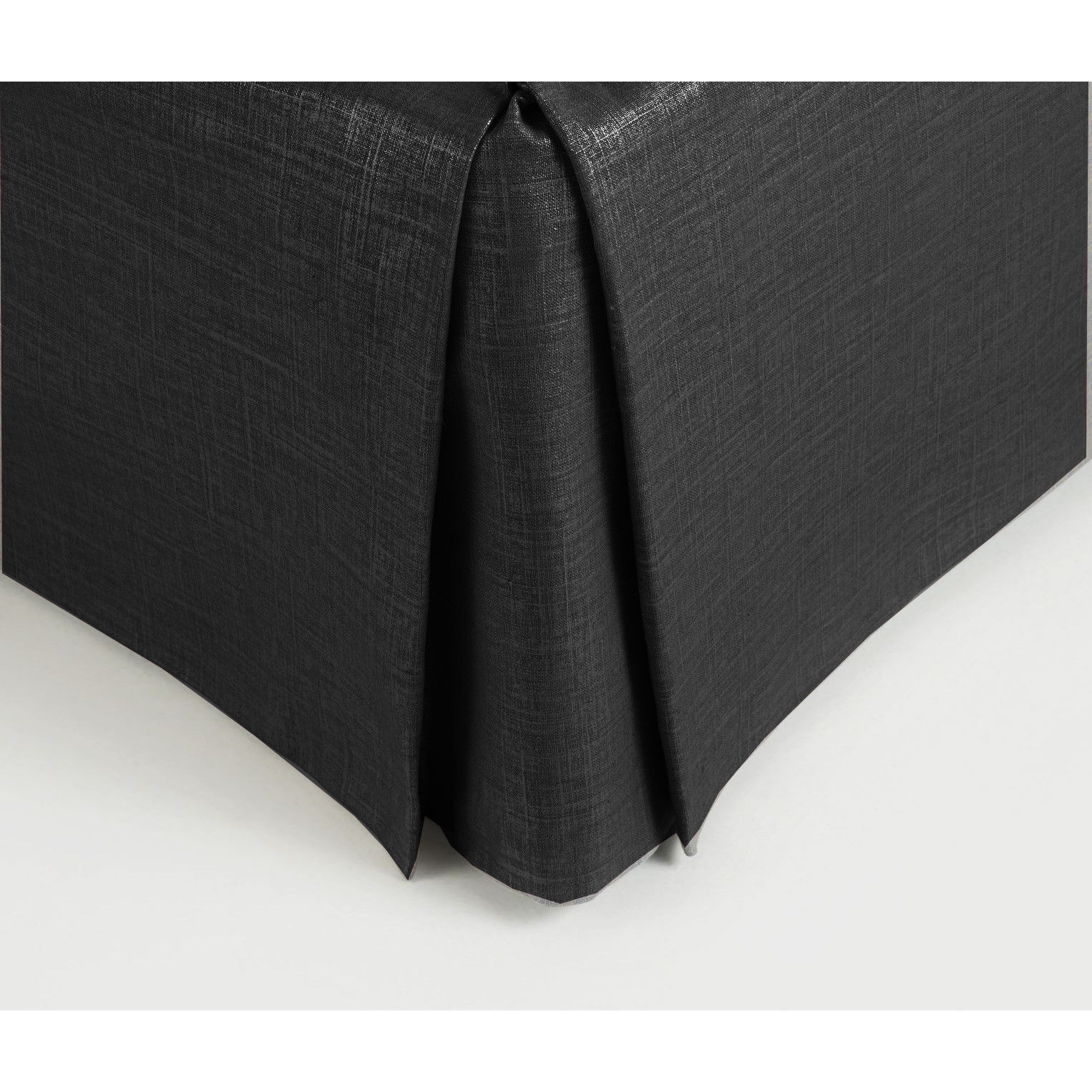 "Primary image for New King Size 15"" Drop 100% Dupioni Silk Box Pleated Bedskirt/Valance - Black"
