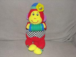 Eden Stuffed Plush Red Black White Monkey Rattle Baby Toy Accordian Squeak - $27.71