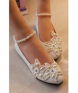 Girls Ivory White Bridal Ballet Flats Shoes,Lace Ankle Straps Bridesmaid... - £30.95 GBP
