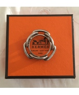 Authentic HERMES Accessory Scarf Ring Chaine d'Ancre Silver Tone 3214193... - $198.00