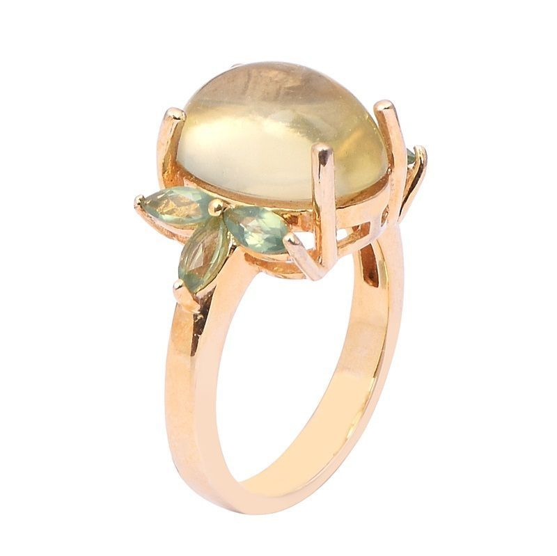 Stylish Collection Jewelry Sterling Lemon & Green Cz Gemstone Silver Ring Sz 8