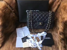 Authentic NEW Chanel Black Jumbo Caviar Double Flap Bag Silver Hardware Receipt