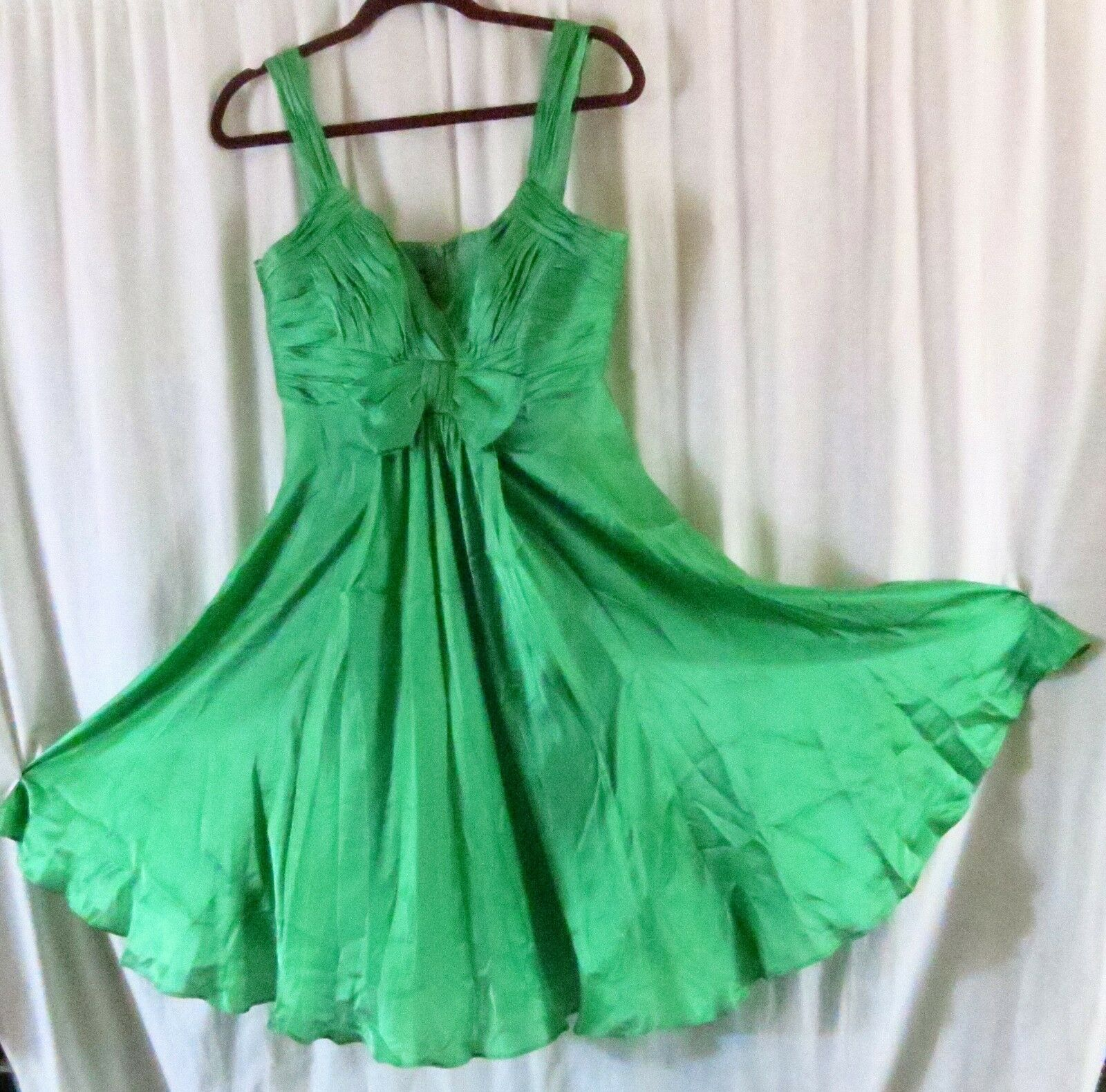 Anne Klein Dress 10 Green Strap V Neck Knee Length Cocktail Party Silk image 2