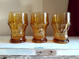 Anchor Hocking Georgian Amber Topaz tumblers set of 3 - $30.00