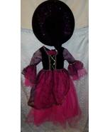 Witch Halloween Costume Girls Dress Black Pink 6 8 Glitter Sparkle - $16.59