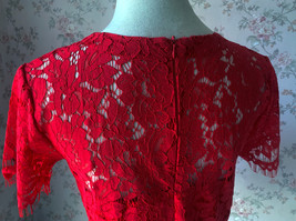 2021 Red Lace Crop Top Short Sleeve Plus Size Wedding Bridesmaid Red Crop Tops  image 4