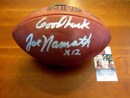 JOE NAMATH # 12 GOOD LUCK NY JETS HOF SIGNED AUTO VTG WILSON DUKE FOOTBA... - $395.99