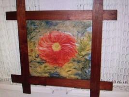 """Vintage, 18"""" x 17"""" Framed Floral Finger Painting - $56.95"""