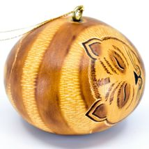 Handcrafted Carved Gourd Art Sleeping Cat Kitten Kitty Ornament Made in Peru image 4