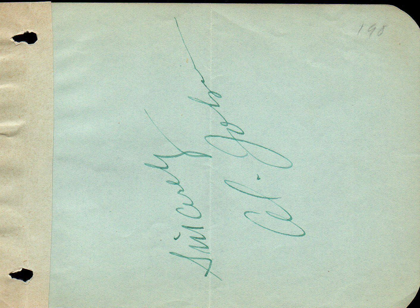 AL JOLSON Autograph. Signed on album page. The Jazz Singer