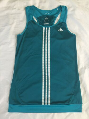 NWOT Adidas Teal White Women Tennis Tank Top Climacool Small Running Yoga