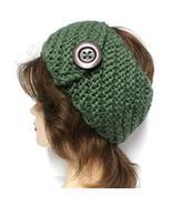 Ginga's Galleria Green Thick Crochet Knit Button Headband Ear Warmer - $16.25