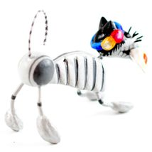 Saul Montesinos Day of the Dead Kitty Cat w Lily Clay & Wire Folk Art Figurine image 5