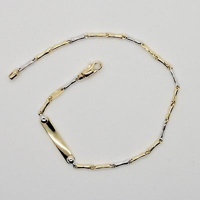 18k WHITE & YELLOW GOLD BRACELET WITH PLATE ENGRAVABLE 7.87 IN MADE IN ITALY
