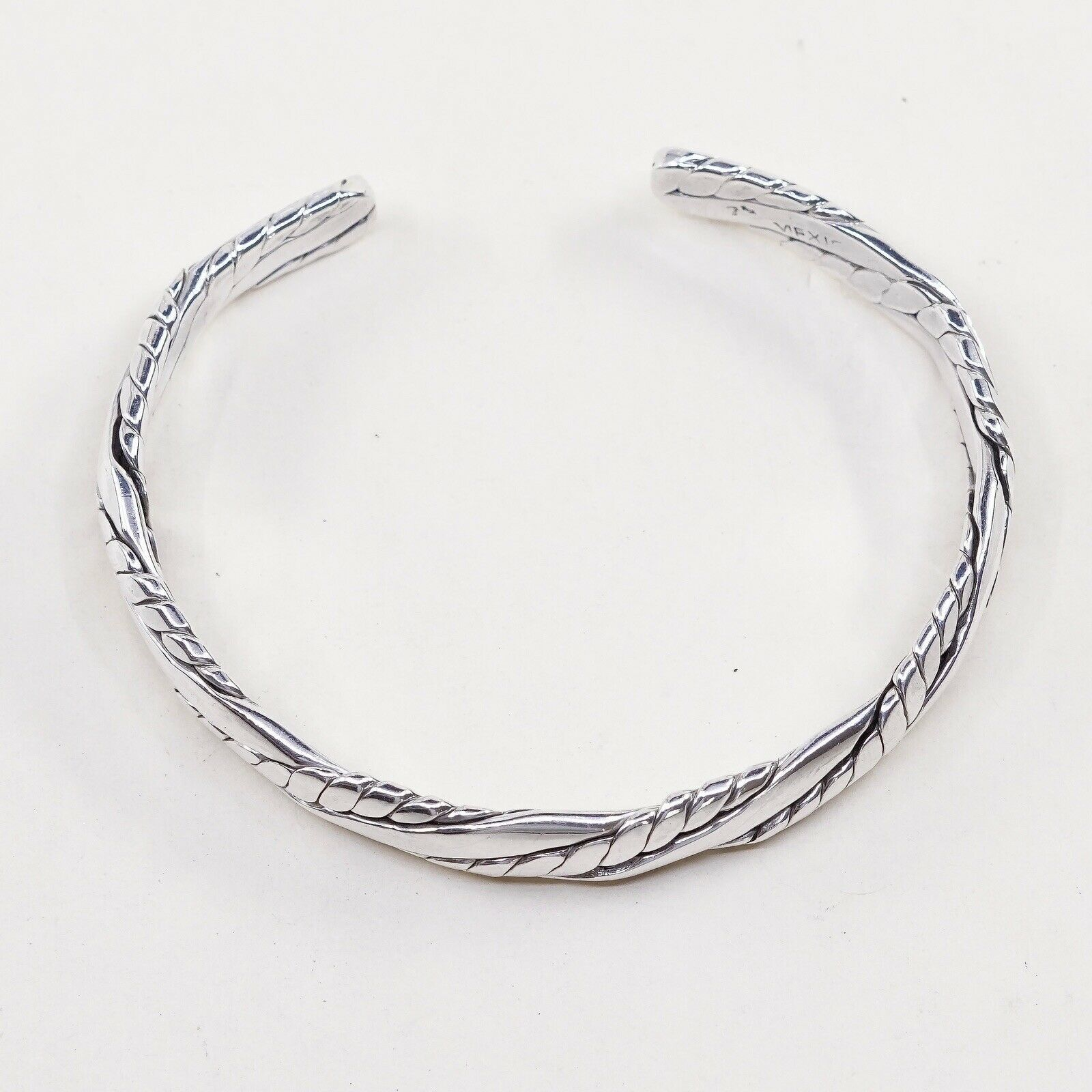 "7"", Vtg Braid Cable Sterling Handmade Cuff, Mexico 925 Silver Bracelet"