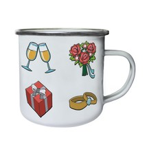 Watercolor Wedding Elements   Retro,Tin, Enamel 10oz Mug g401e - $13.13