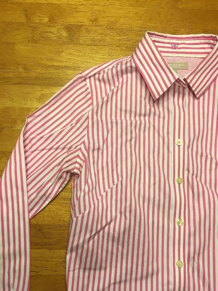 d34d50ff Banana Republic Women's Pink & White Striped Non-Iron Fitted Dress Shirt  Size 6