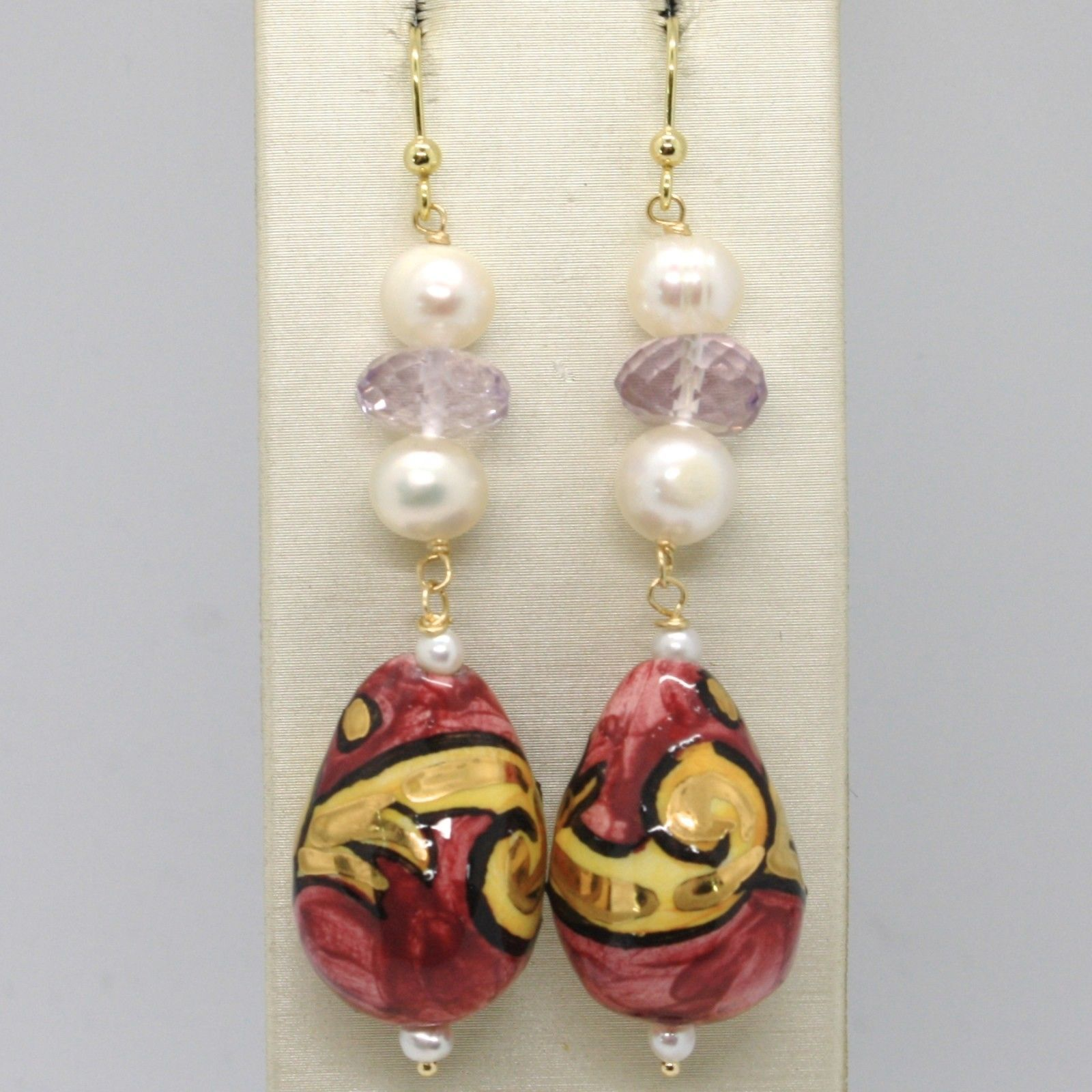 18K YELLOW GOLD EARRINGS AMETHYST PEARL & CERAMIC BIG DROP HAND PAINTED IN ITALY