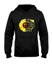 Sunflower I Just Really Really Love Elephants Hoodie Unisex Made in USA - $28.70+