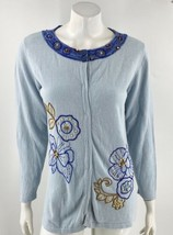 Storybook Knits Womens Cardigan Sweater Sz Medium Blue Floral Embroidere... - $34.65
