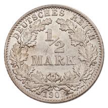 1909-d ALLEMAGNE 1/2 Mark Pièce Argent KM#17 choix hors-circulation état - $133.66