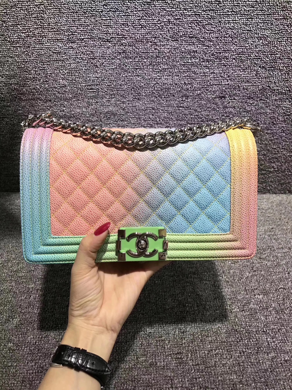 Authentic Chanel Limited Edition Rainbow Quilted Caviar
