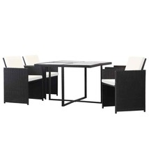 vidaXL 5 Piece Outdoor Dining Set with Cushions Poly Rattan Black Chair ... - $300.99