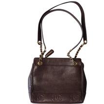 MINT. Vintage CHANEL dark brown caviarskin shoulder bag, tote with CC st... - $1,720.00