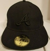 New Era 59fifty Oakland Athletics Black Out Fitted Cap Hat Size 7 3/8 Rare - £13.23 GBP