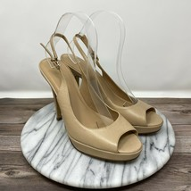 Cole Haan NikeAir Patent Leather Open Toe Slingback Heels Tan Women's Si... - $39.95