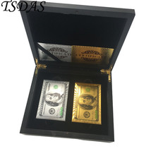 100 Dollar Game Gold Playing Cards With Wooden Box Poker Cards Christmas... - $30.00